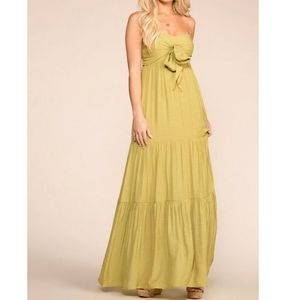Lime Front tie Spaghetti strap maxi dress